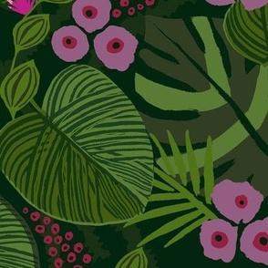 tropical jungle floral fushia large scale