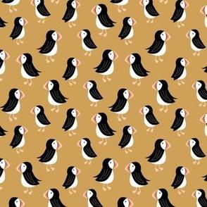 Little puffin friends scandinavian nordic wild animals design kids ochre yellow