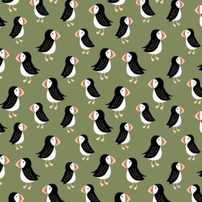 Little puffin friends scandinavian nordic wild animals design kids olive green