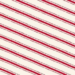 candycane textured angled stripe vintage red medium scale