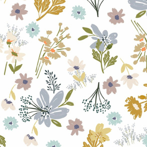 FF5 FIELD FLOWERS WILDFLOWERS FEMININE LAVENDER GOLD BLUE COTTAGE CORE FARMHOUSE STYLE VINTAGE STYLE LARGE SCALE TerriConradDesigns