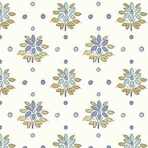 FF3 Large Scale FLOWERS ILLUSTRATED FLORAL LANENDER BLUE FEMININE FRENCH COTTAGE CORE VINTAGE HOME STYLE UPOLSTERY FABRIC TerriConradDesigns