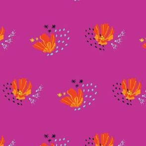 Colorful orange blossoms on fuchsia background