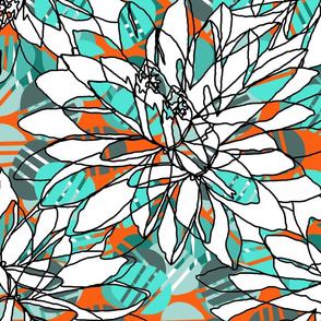 lilies with red & teal background