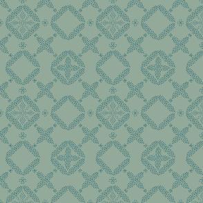 Stitched Tile - Dark Sage - Large