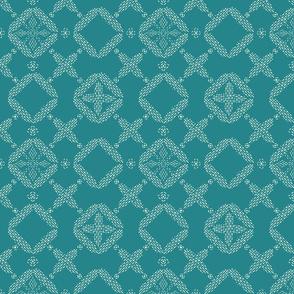 Stitched Tile - Bright Teal, Light  - Large