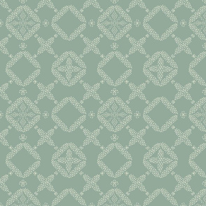 Stitched Tile - Light Sage - Large