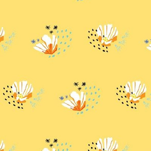Ditsy Cactus Blossom Scattered on Butter Yellow