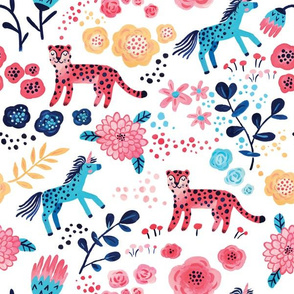 magic world (unicorn and pink leopard with flowers)