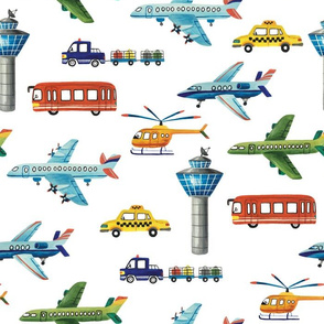 airport hand drawn pattern (airplanes, helicopter, bus, car, taxi and tower)