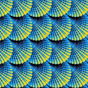 Slanted Deco Shells, Blue-Yellow