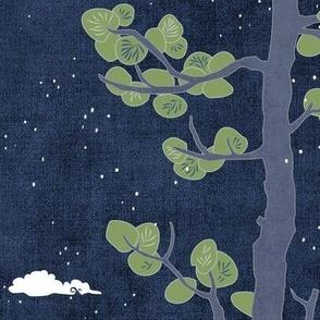 Forest Fabric, Crane Fabric in Midnight Blue (xl scale)   Bird fabric in dark blue, navy blue Japanese print fabric, tree fabric with crane birds and snow.