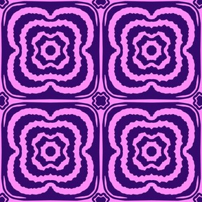 Flower child geometric blooms - Pink and navy