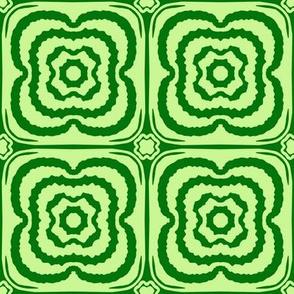 Flower child geometric blooms - Green