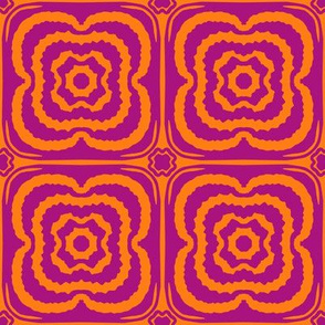Flower child geometric blooms - pink and purple