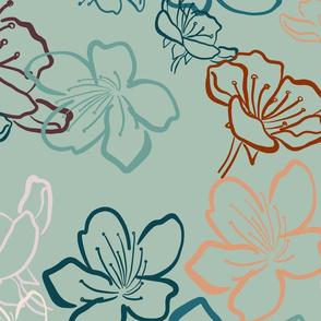 Blossoms over light teal - bigger