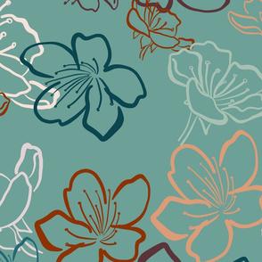Blossoms over medium teal - bigger