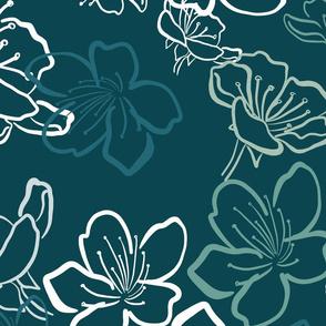 Blossoms monochrome over  darker teal - bigger