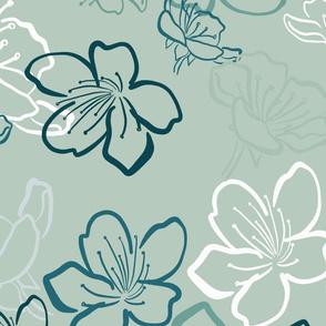 Blossoms monochrome over light teal - bigger