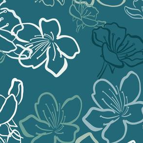 Blossoms monochrome over dark teal - bigger