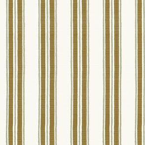 Tobacco and Olive on Cream Anderson Stripe