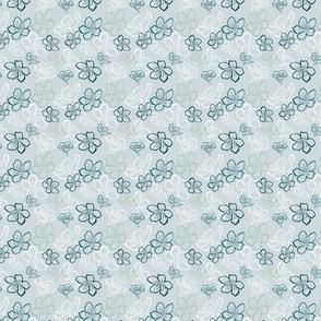 Blossoms monochrome over lighest teal - smaller