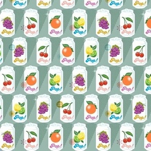 Fruit Pop!* (Midi Camouflage) || fruit soda cans vintage packaging halftone dot screen star leaves aluminum cherry grape citrus orange lemon lime