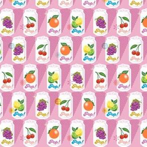 Fruit Pop!* (Midi Pink Cow) || fruit soda cans vintage packaging halftone dot screen star leaves aluminum cherry grape citrus orange lemon lime
