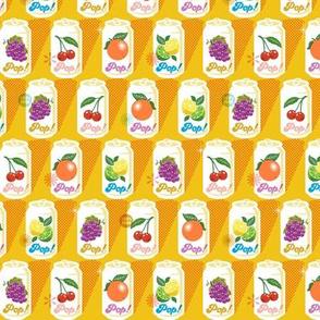 Fruit Pop!* (Midi Velvet Banana) || fruit soda cans vintage packaging halftone dot screen star leaves aluminum cherry grape citrus orange lemon lime