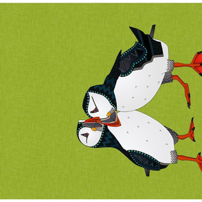 puffin pair lime tea towel