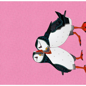 puffin pair pink tea towel