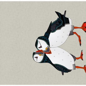 puffin pair warm grey tea towel