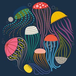 "Jar of Jellyfish - 18"" (Fat Quarter) Circle Placement"