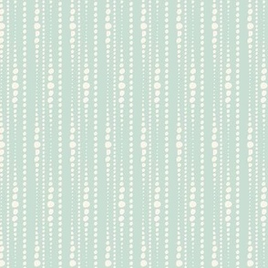 Bestrewn - Abstract Geometric Dot Stripe Soft Aqua And Ivory Small Scale