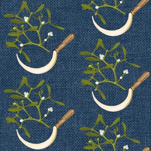 Sickle and Mistletoe (dark woad blue)
