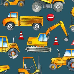 Watercolor Construction Cars / Teal Background / Large Scale