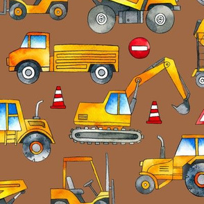 Watercolor Construction Cars / Terracotta Background / Large Scale