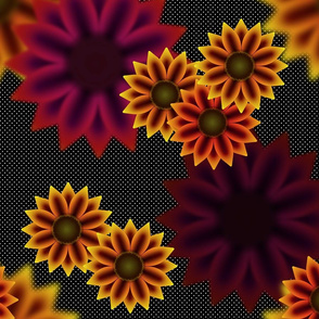 Late Summer Sunflowers (Warm White Polka Dots)