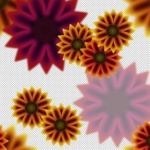 Late Summer Sunflowers (Warm Black Polka Dots)