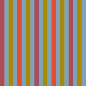 Stripes in bordeaux, ice blue, mustard, red