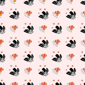 retro red and black cactus flowers on pink background