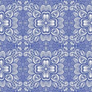 Floral Tile - White on Blue