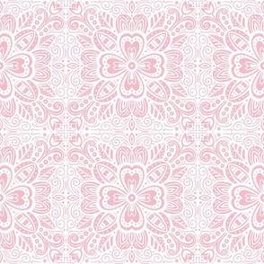 Floral Tile - Pink on White