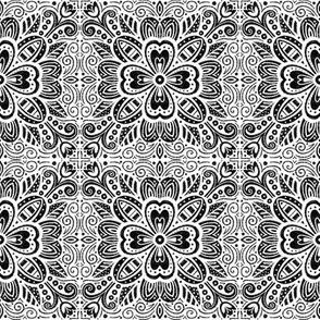 Floral Tile - Black on White