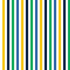 circus stripes navy, green and yellow