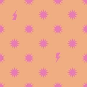 Orange Pink Star Burst Dot - Large