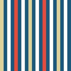 Stripes in blue, white, linen, red