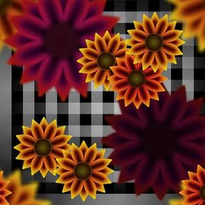 Late Summer Sunflowers (Gingham Warm)