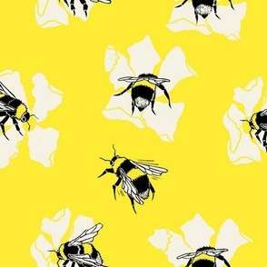 Bumble Bees and Flowers - Large