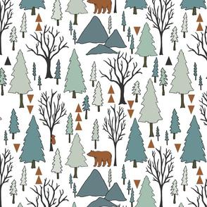 Bear Forest - Seaspray, Soft Teal on White